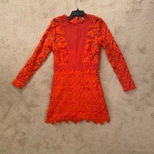 Asos Orange Crochet Mini Dress